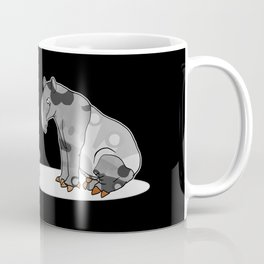 Tapir meets Turtle, Cute Animal Illustration, Black & White with Copper Metallic Accent Funny Turtle Coffee Mug