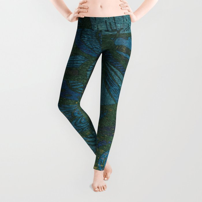 Paisley Leaf Abstract Pattern with Glitter Blue Green Aqua Leggings