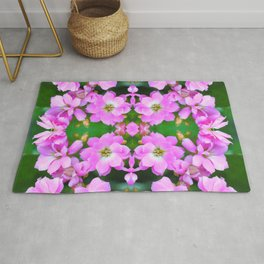 Fresh pink Kalanchoe flowers surreal shaped symmetrical kaleidoscope Rug