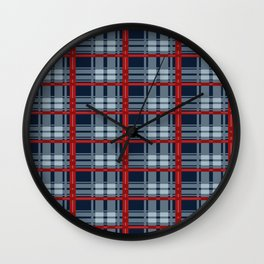 Red Line White And Red Lumberjack Flannel Pattern Wall Clock