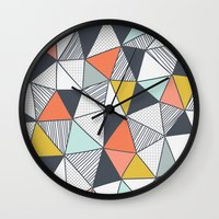 triangles Wall Clocks featuring Triangles by Patterns and Textures