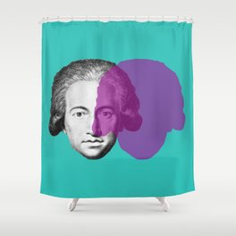 Goethe - teal and purple portrait Shower Curtain