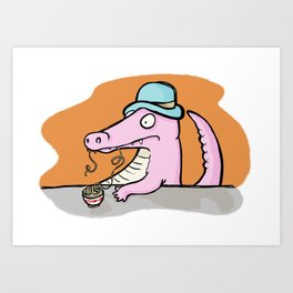 Is That More Food? A Deliciously Slippery Meal. Art Print