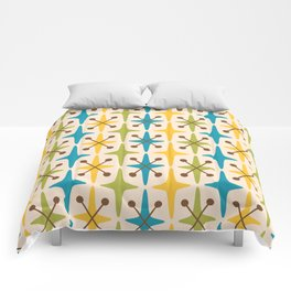 Mid Century Modern Abstract Star Pattern 441 Yellow Brown Turquoise Chartreuse Comforters