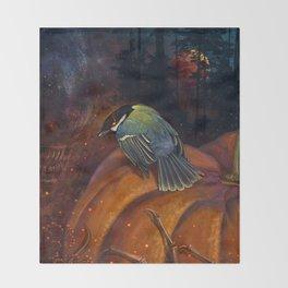 Halloween bird titmouse Throw Blanket