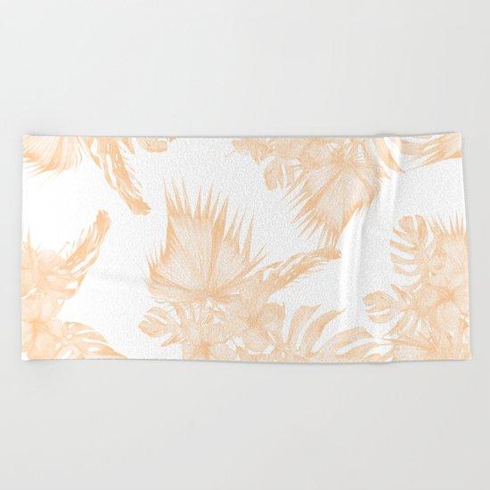 Island Vacation Hibiscus Palm Coral Apricot Orange Beach Towel