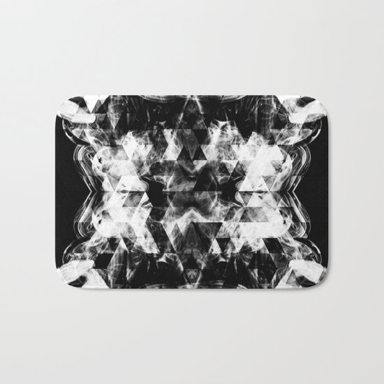 Electrifying black and white sparkly triangle flames Bath Mat