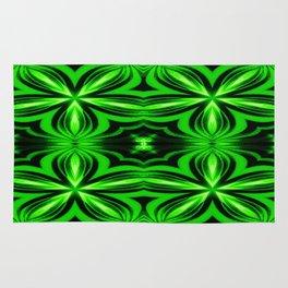 Vivid Green Electric Flower Pattern Rug