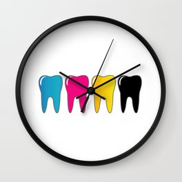 CMYK tooth Wall Clock