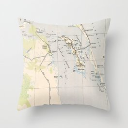 Vintage Map of Roanoke Island & Outer Banks NC Throw Pillow