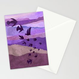 Purple Mountains Birds Take Flight Stationery Cards