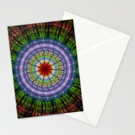 Groovy painterly mandala with tribal patterns Stationery Cards