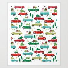 Christmas holiday vintage cars classic festive christmas tree snowflakes winter season Art Print