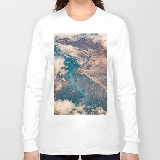 View of the World from Above (Earth Map) Long Sleeve T-shirt