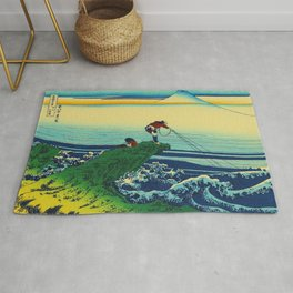 Vintage Japanese Art - Man Fishing Rug