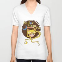pie V-neck T-shirts featuring Moon Pie by Ashley Hay