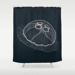 Hand drawn vector illustration of jellyfish Aurelia aurita, also called the common jellyfish, moon jellyfish, moon jelly Shower Curtain