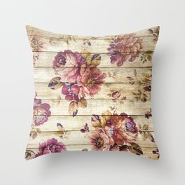 Rustic Vintage Country Floral Wood Romantic Throw Pillow