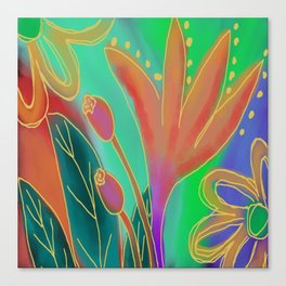 Colorful Abstract Digital Floral Painting  Canvas Print