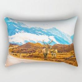 Wildlife, Animals Nature Travel Landscape Painting, Snow Moon Wanderlust Forest Antelopes Rectangular Pillow