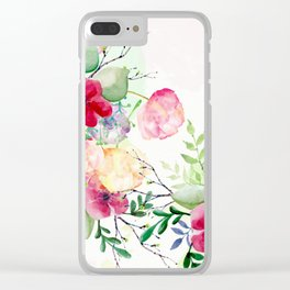 Vintage Flowers - Watercolor Floral Painting Clear iPhone Case