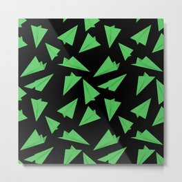 Paper Planes Pattern | Green Black Metal Print