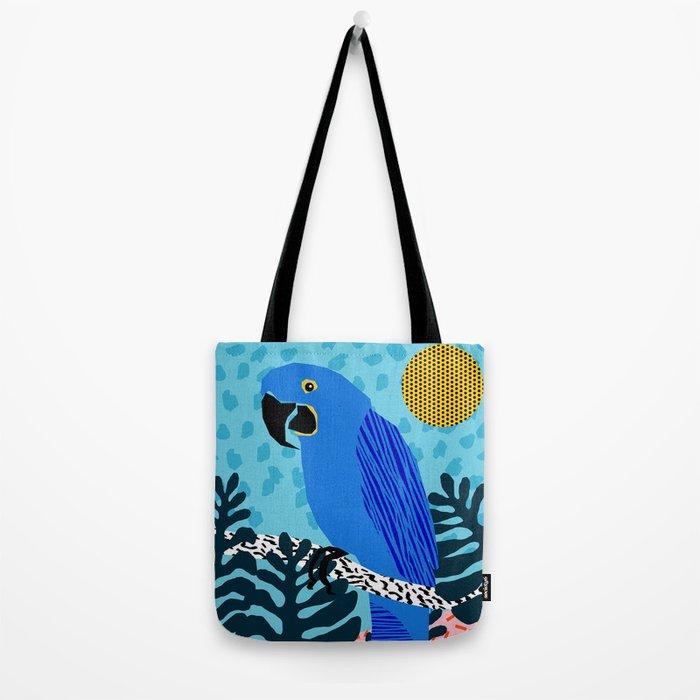 Steaz - memphis throwback tropical retro minimal bird art 1980s 80s style pattern parrot fashion Tote Bag