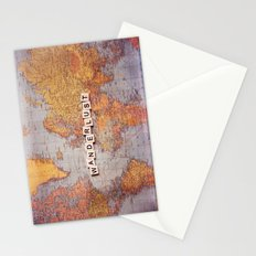 wanderlust map Stationery Cards
