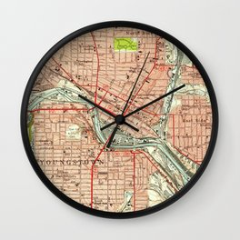 Vintage Map of Youngstown Ohio (1951) Wall Clock