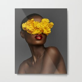 Yellow Flower Sunglasses Metal Print