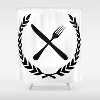 eat Shower Curtains featuring Eat by Noah Zark