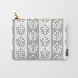 Mid Century Modern Flower Stripes Pattern Gray Carry-All Pouch