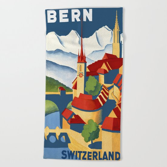 Vintage Bern Switzerland Travel Beach Towel