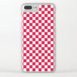 White and Crimson Red Checkerboard Clear iPhone Case