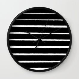 Rough White Thin Stripes on Black Wall Clock