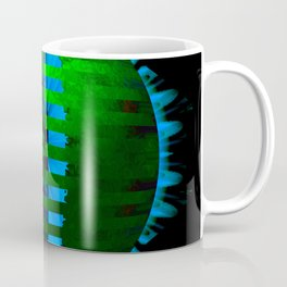 Green Layered Star in Aqua Flames Coffee Mug