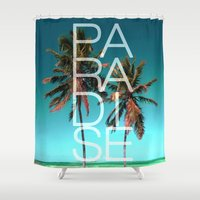 paradise Shower Curtains featuring PARADISE by Chrisb Marquez