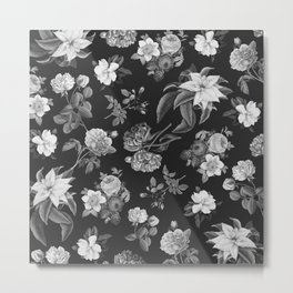 Vintage flowers on black Metal Print