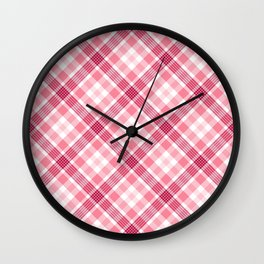 Pink and Red Valentine's Plaid Wall Clock