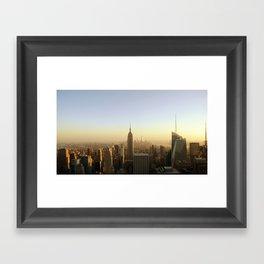 New York Skyline @ Dusk with Empire State Building Framed Art Print