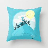 justice Throw Pillows featuring Justice !.. by Oblivion Creative