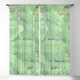 Watercolor Tree Spruce 01, Verdant Green, Nova Scotia, Canada Sheer Curtain