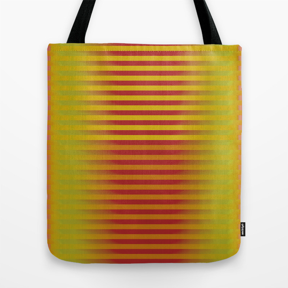 Yellow Orange Red Generative Stripes Tote Purse by Amytraylor (TBG9578750) photo