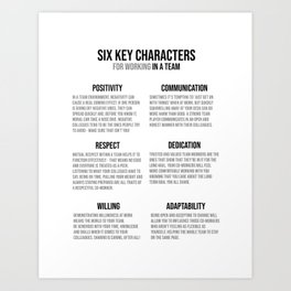 Characters For Working In A Team, Office Decor Ideas, Wall Art Art Print
