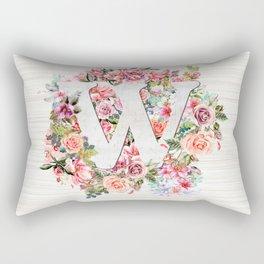 Initial Letter W Watercolor Flower Rectangular Pillow