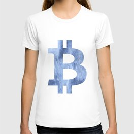 Bitcoin Blue clouds watercolor pattern T-shirt