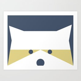 Peek-a-Boo Raccoon, Blue and Gold (Portland) Art Print