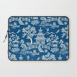 Chinoiserie Pagoda Dark blue Laptop Sleeve