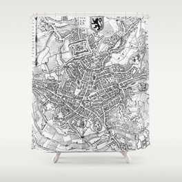 Vintage Map of Ghent Belgium (1650) BW Shower Curtain