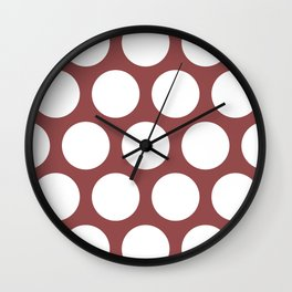 Large Polka Dots: Rustic Red Wall Clock